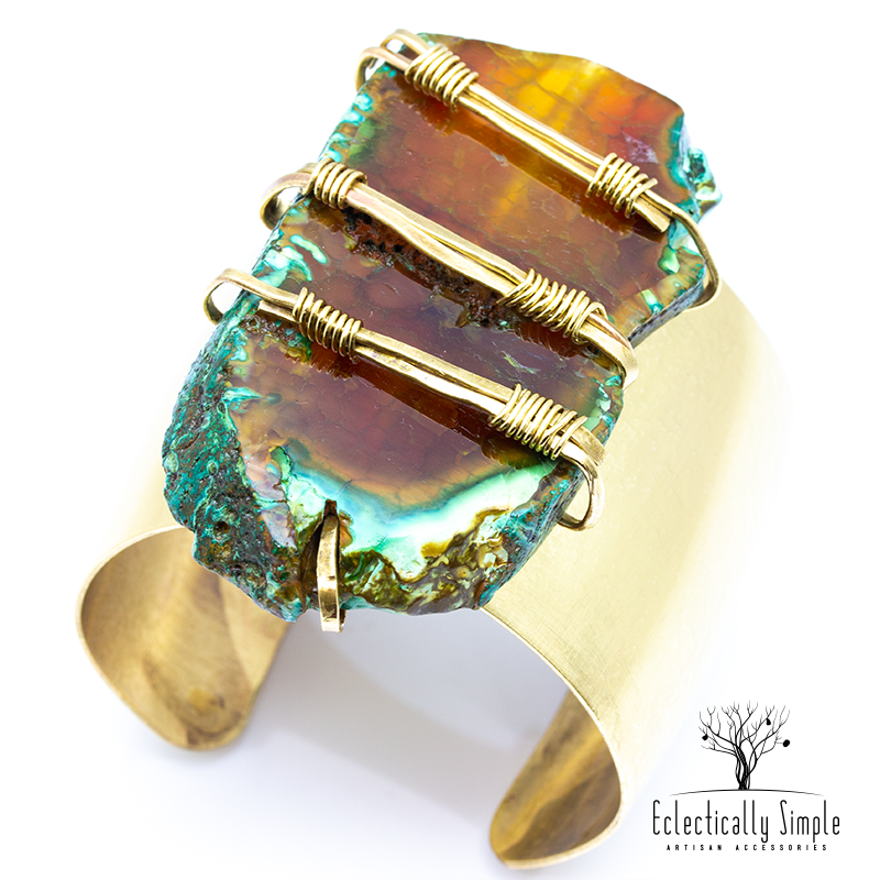 Apparel & Accessories > Jewelry Brass Agate Cuff , Women's Bracelets / Cuffs - Eclectically Simple, LLC