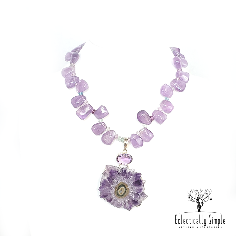 Amethyst Stalactite and Fluorite Pendant Necklace - Eclectically Simple, LLC