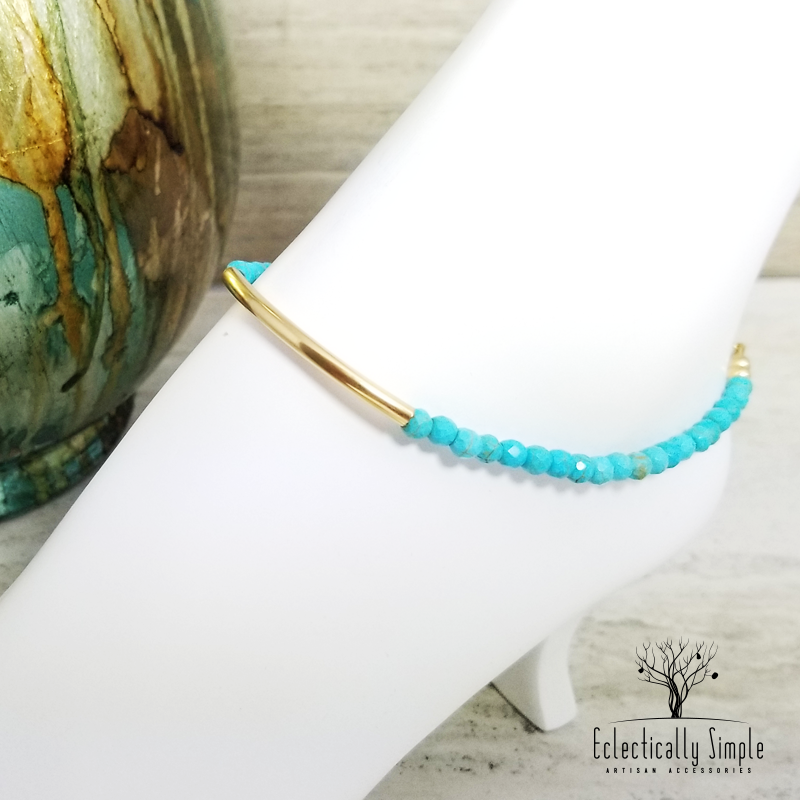 Apparel & Accessories > Jewelry Faceted Turquoise Anklet , Anklet - Eclectically Simple, LLC