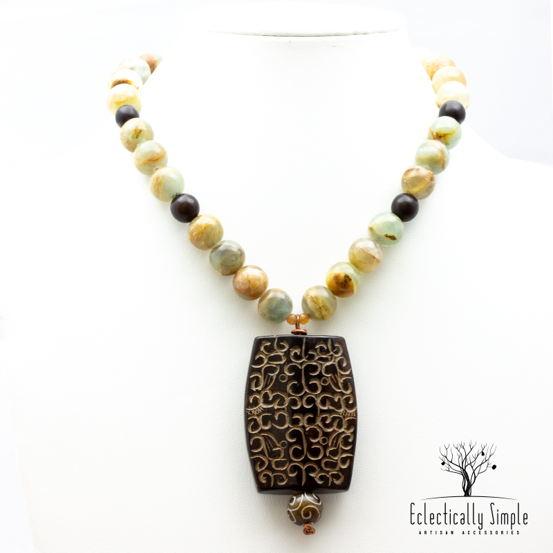 Carved Jade Pendant Necklace - Eclectically Simple, LLC