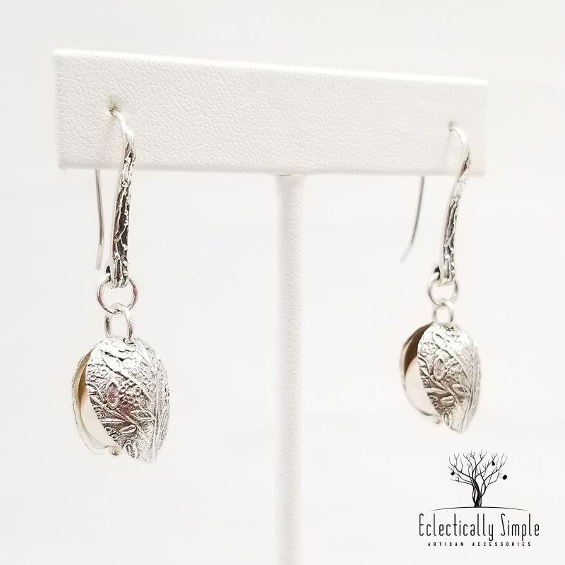 Apparel & Accessories > Jewelry Sterling Silver Clamshell Earrings , Women's Earrings - Eclectically Simple, LLC
