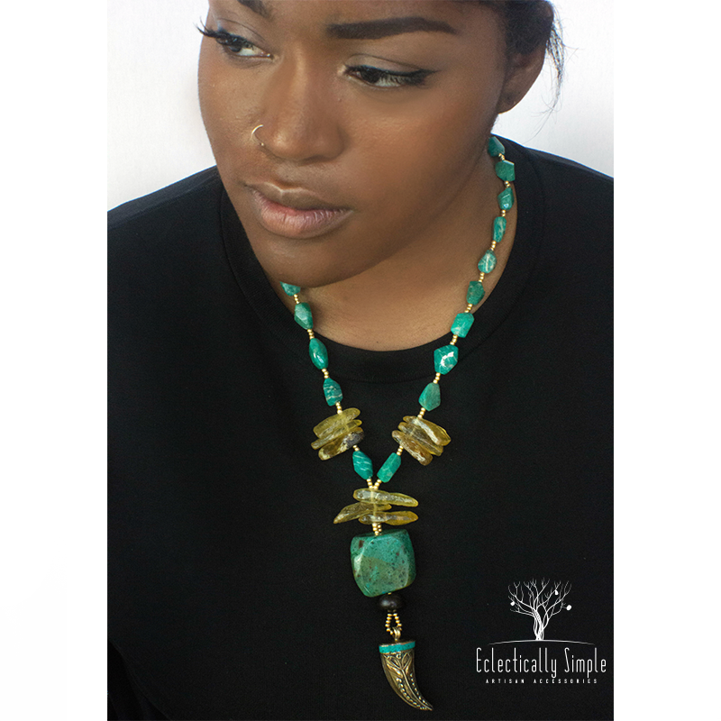 Apparel & Accessories > Jewelry Russian Amazonite and Chrysocolla Y-Style Necklace , Women's Necklace - Eclectically Simple, LLC