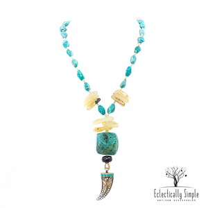 Russian Amazonite and Chrysocolla Y-Style Necklace
