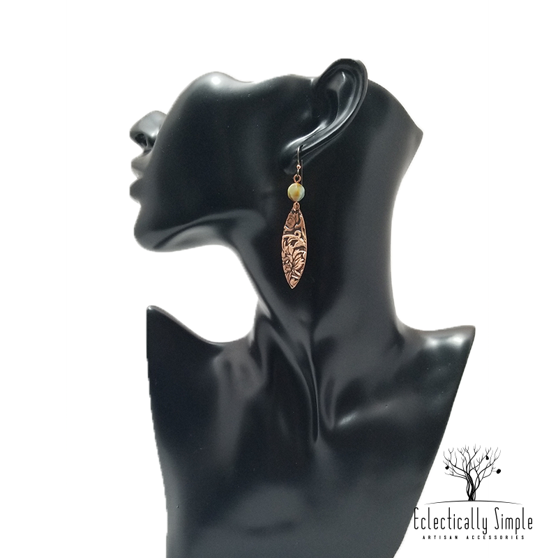 Apparel & Accessories > Jewelry Patterned Copper Earrings , Women's Earrings - Eclectically Simple, LLC