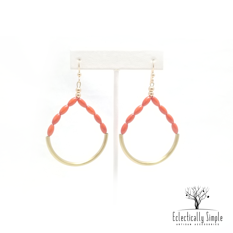 Apparel & Accessories > Jewelry Brass Coral Hoop Earrings , Women's Earrings - Eclectically Simple, LLC