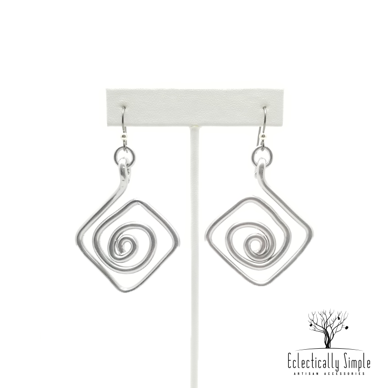 Apparel & Accessories > Jewelry Aluminum Diamond Swirl Earrings Series 01 , Women's Earrings - Eclectically Simple, LLC