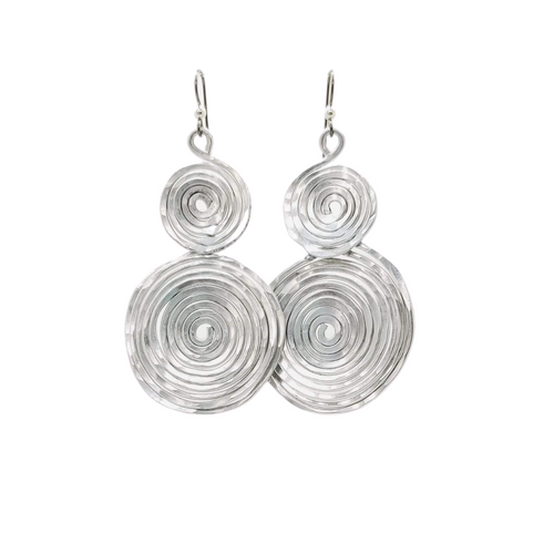 Apparel & Accessories > Jewelry Aluminium Double Spiral Earrings , Women's Earrings - Eclectically Simple, LLC