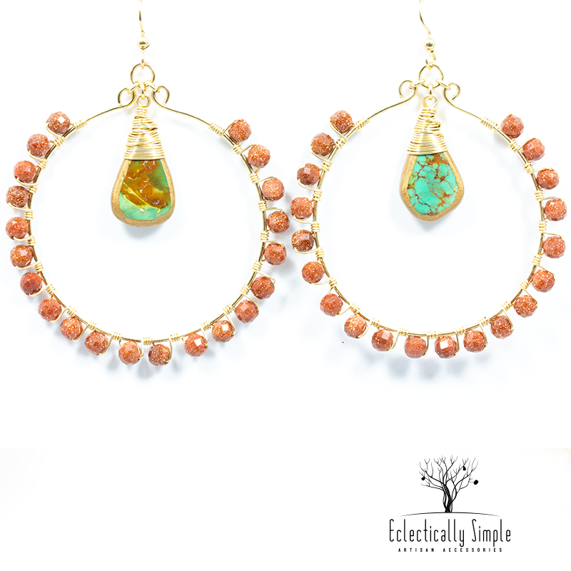 Apparel & Accessories > Jewelry Gold Filled Gemstone Hoop Earrings , Women's Earrings - Eclectically Simple, LLC