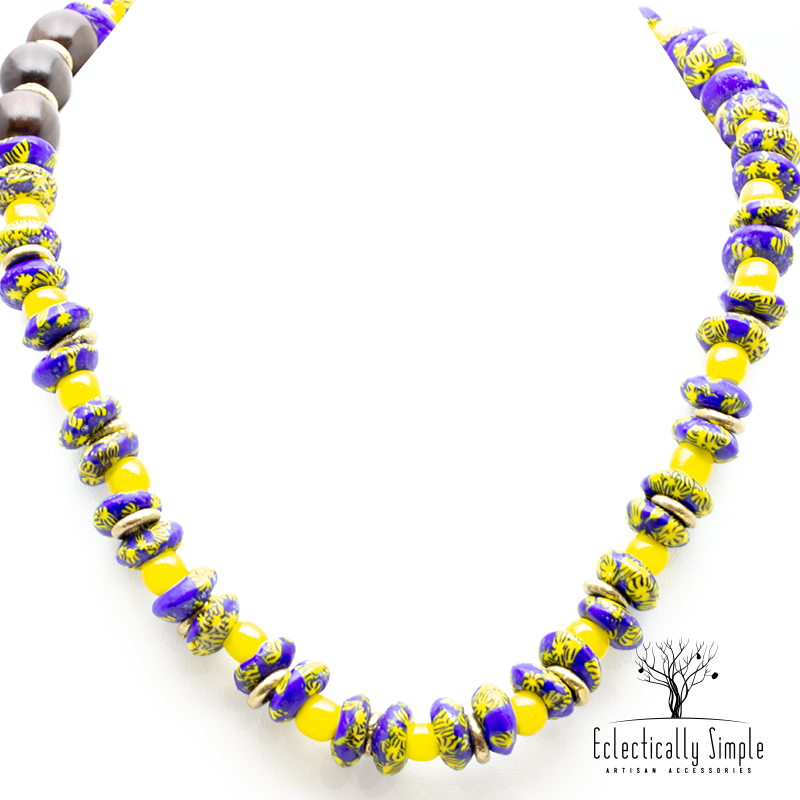 Apparel & Accessories > Jewelry Krobo Cobalt & Yellow Necklace , Women's Necklace - Eclectically Simple, LLC