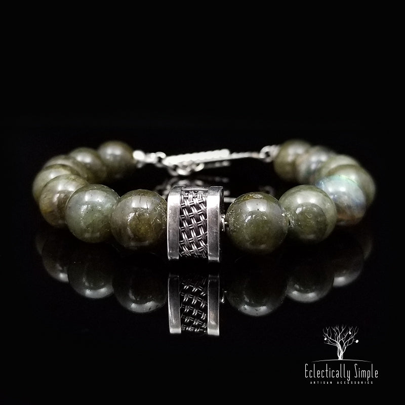 Apparel & Accessories > Jewelry Men's Premier Bracelets - Labradorite , Men's Bracelets / Cuffs - Eclectically Simple, LLC