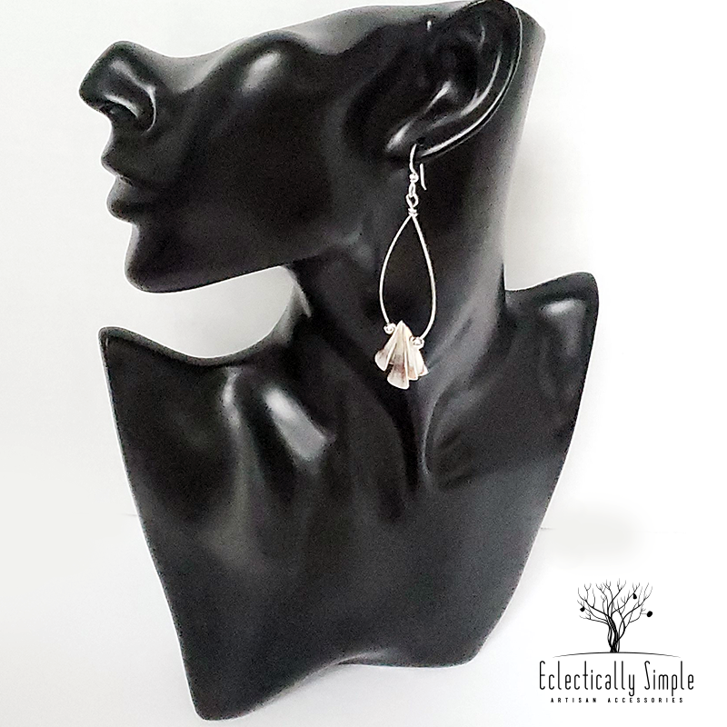 Apparel & Accessories > Jewelry Sterling Silver Luhuanus Shell Hoop Earrings , Women's Earrings - Eclectically Simple, LLC