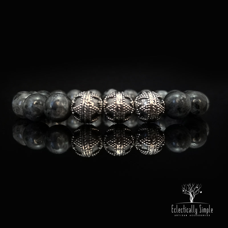Apparel & Accessories > Jewelry Labradorite - Strength & Courage Series , Men's Bracelets / Cuffs - Eclectically Simple, LLC