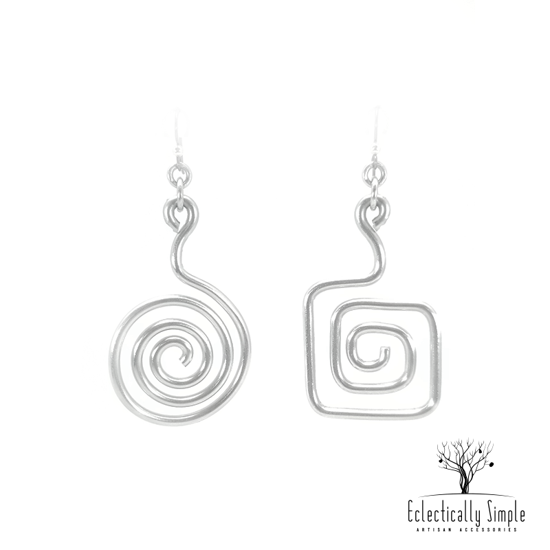 Apparel & Accessories > Jewelry Aluminum Abstract Mismatch Earrings Series 01 , Women's Earrings - Eclectically Simple, LLC