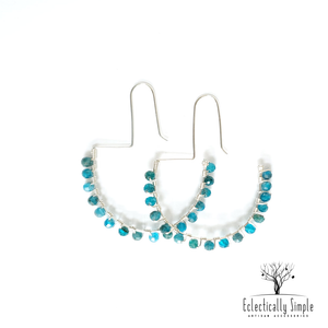 Studded Gemstone Ear wire Hoop Earring - Eclectically Simple