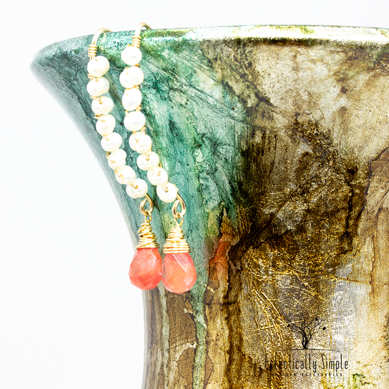 Pearl & Quartz Gold Filled Gemstone Earrings - Eclectically Simple, LLC