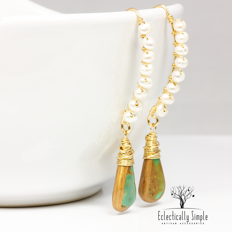 Apparel & Accessories > Jewelry Pearl & Turquoise Gold Filled Gemstone Earrings , Women's Earrings - Eclectically Simple, LLC