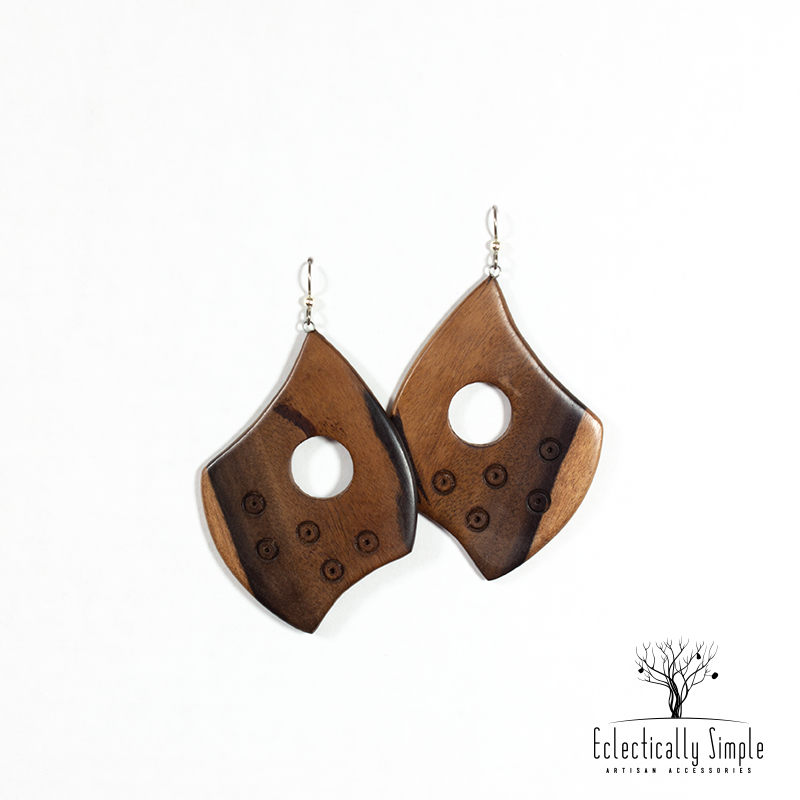 Apparel & Accessories > Jewelry Hand Carved Ebony Wood Shield Earrings , Women's Earrings - Eclectically Simple, LLC