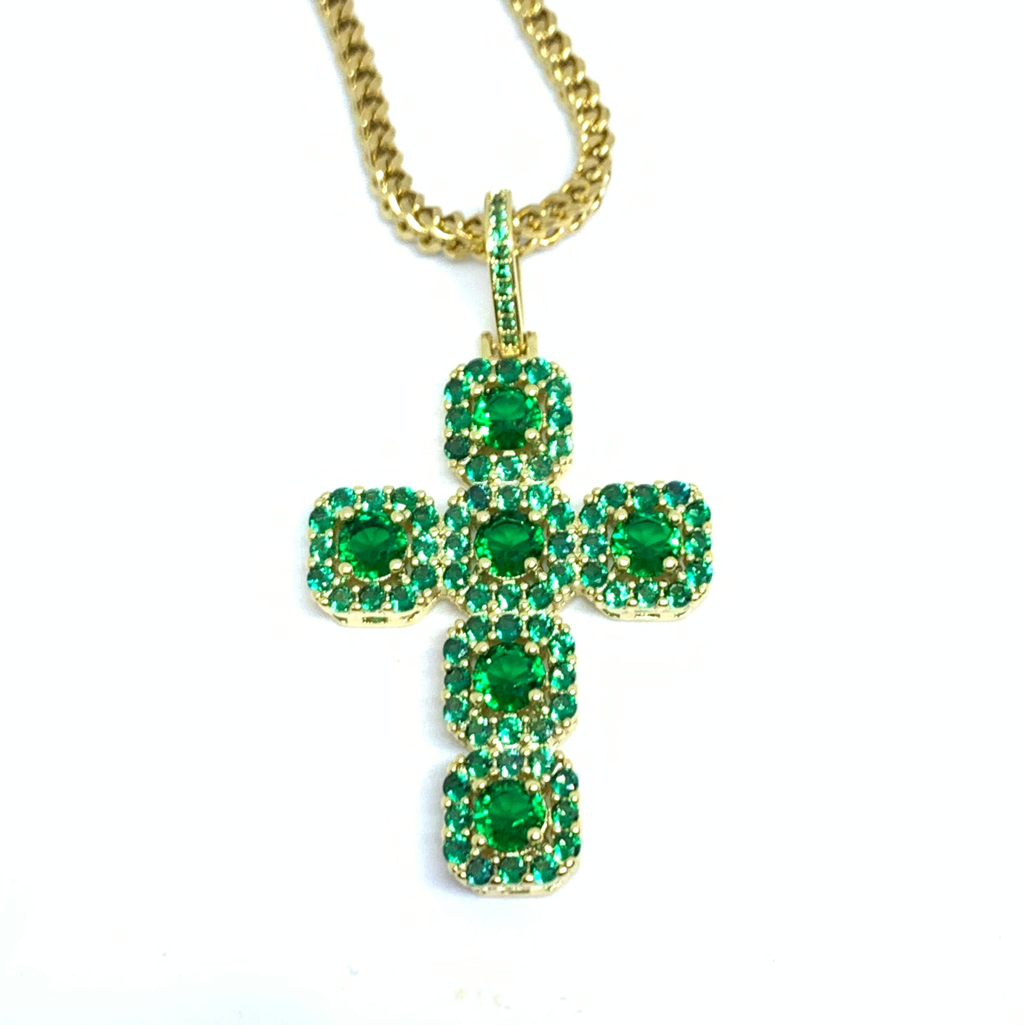 Iced Out Cross Necklace Gold Green Stone