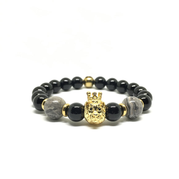Crowned Lion with Black Onyx
