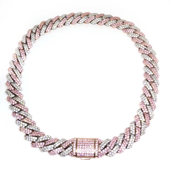 Silver&Pink Cuban Link