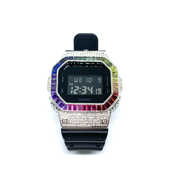 Rainbow Iced Out Watch