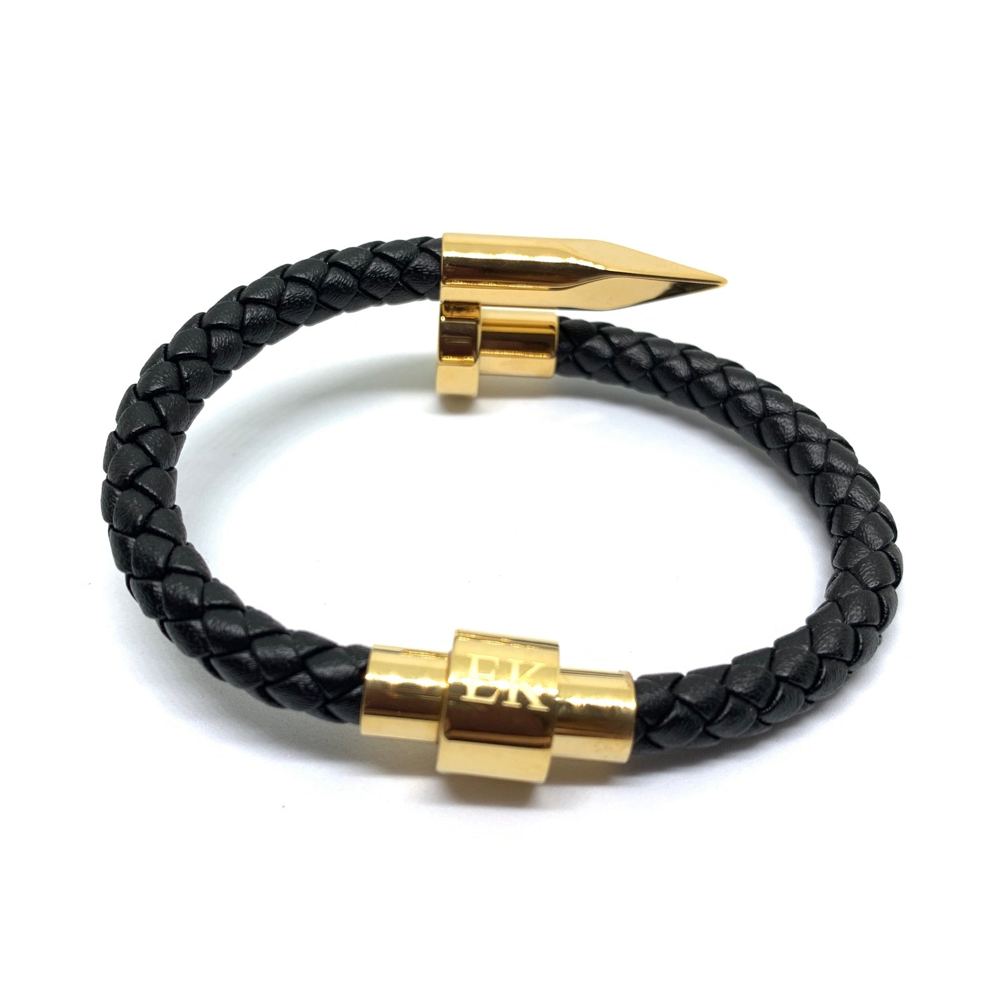 The Tack Leather Bracelet (Gold)