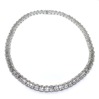 Baguette Diamond Cut Silver Necklace