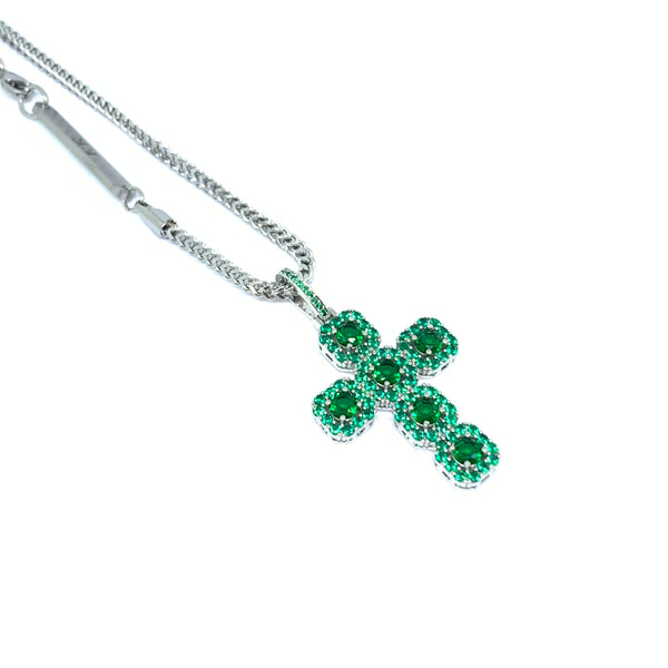 Iced Out Green Cross Silver Necklace