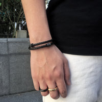 Two Braided Leather Bracelet / Black