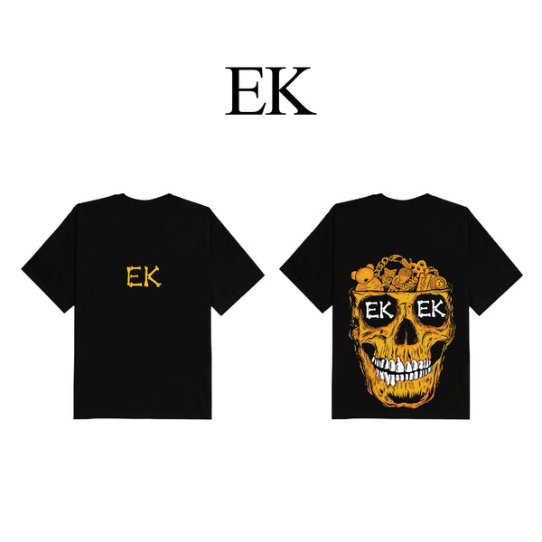 Orange Skull Black T-Shirt