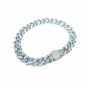 Two Tone Light Blue & White Stone Bracelet