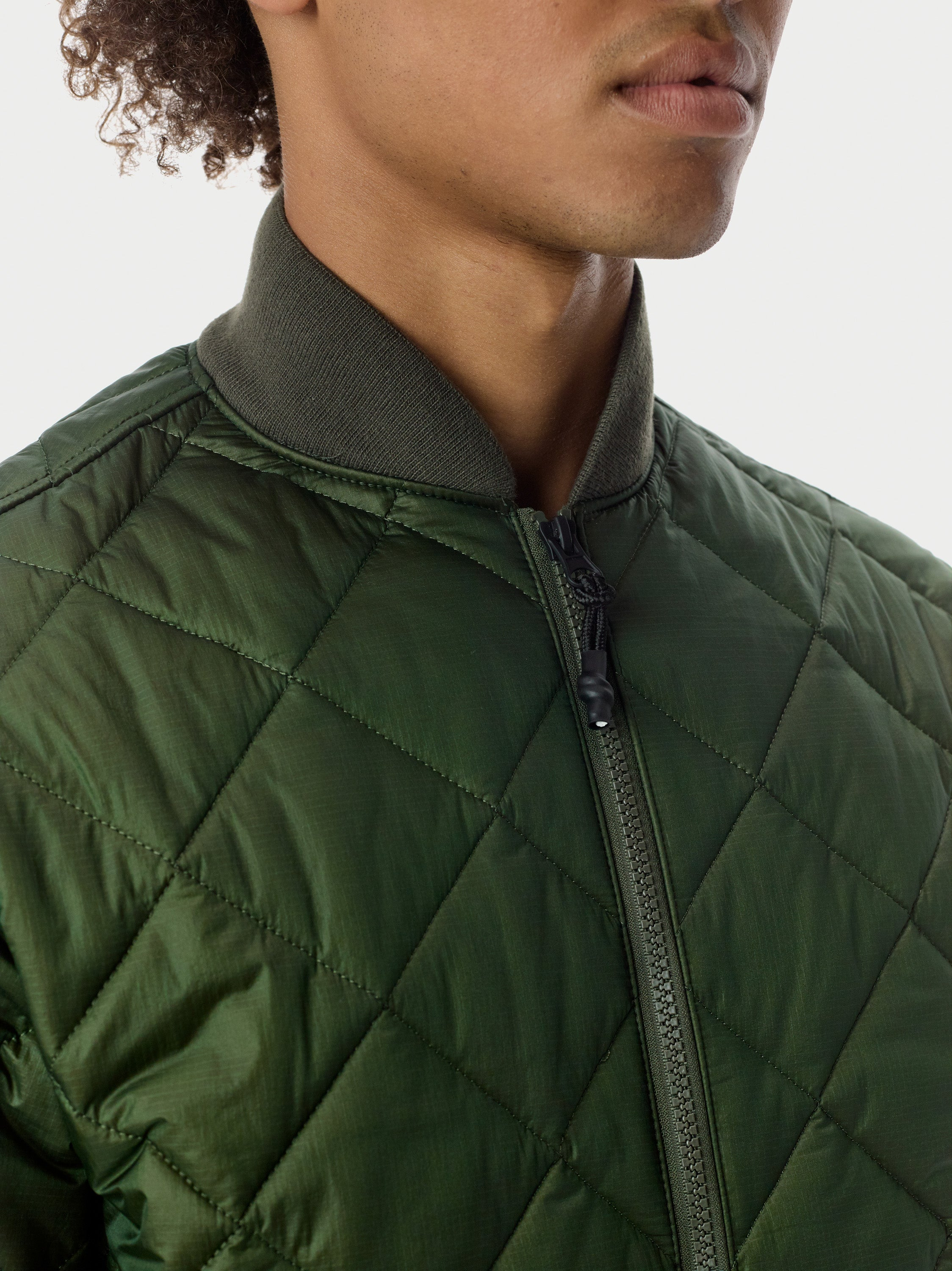Quilted Through Quilted Bomber - Olive Quilted Bomber - Olive