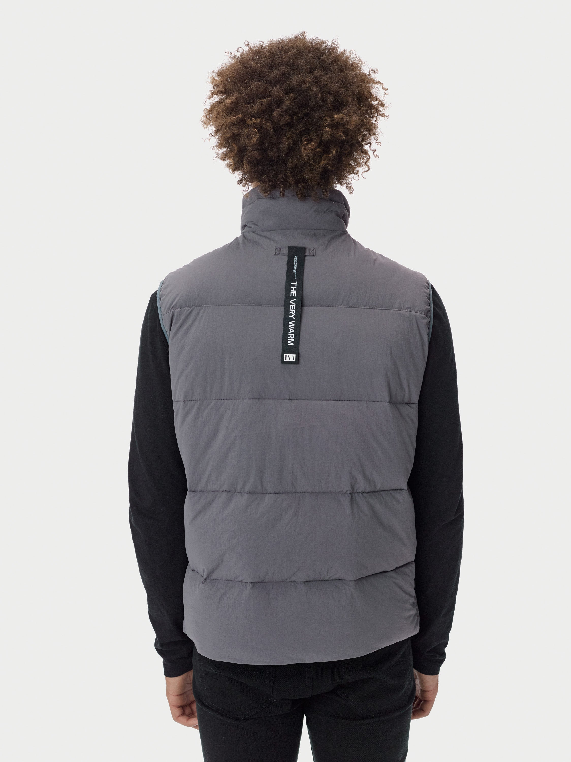 Filled Bubble Puffer Vest - Grey Puffer Vest - Grey