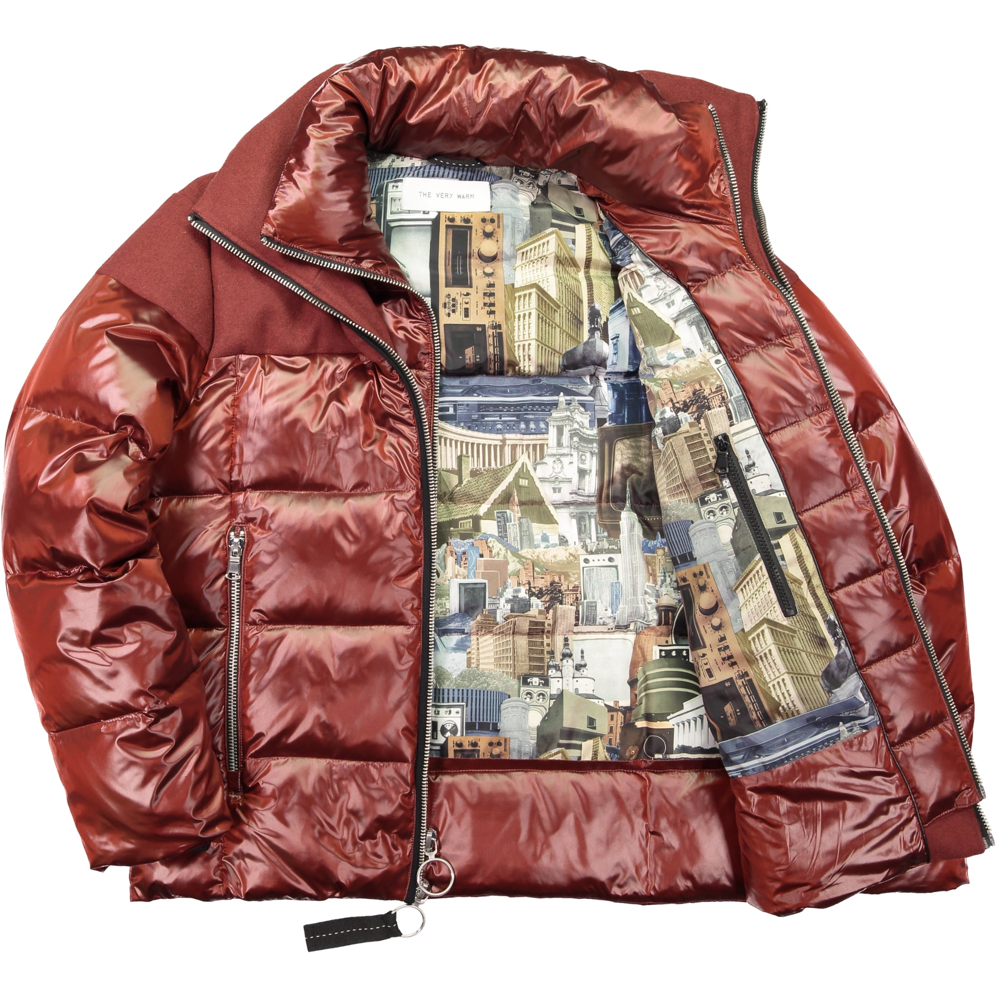 Artist Series Mens Mixed Media Wool Puffer - Brick Mens Mixed Media Wool Puffer - Brick