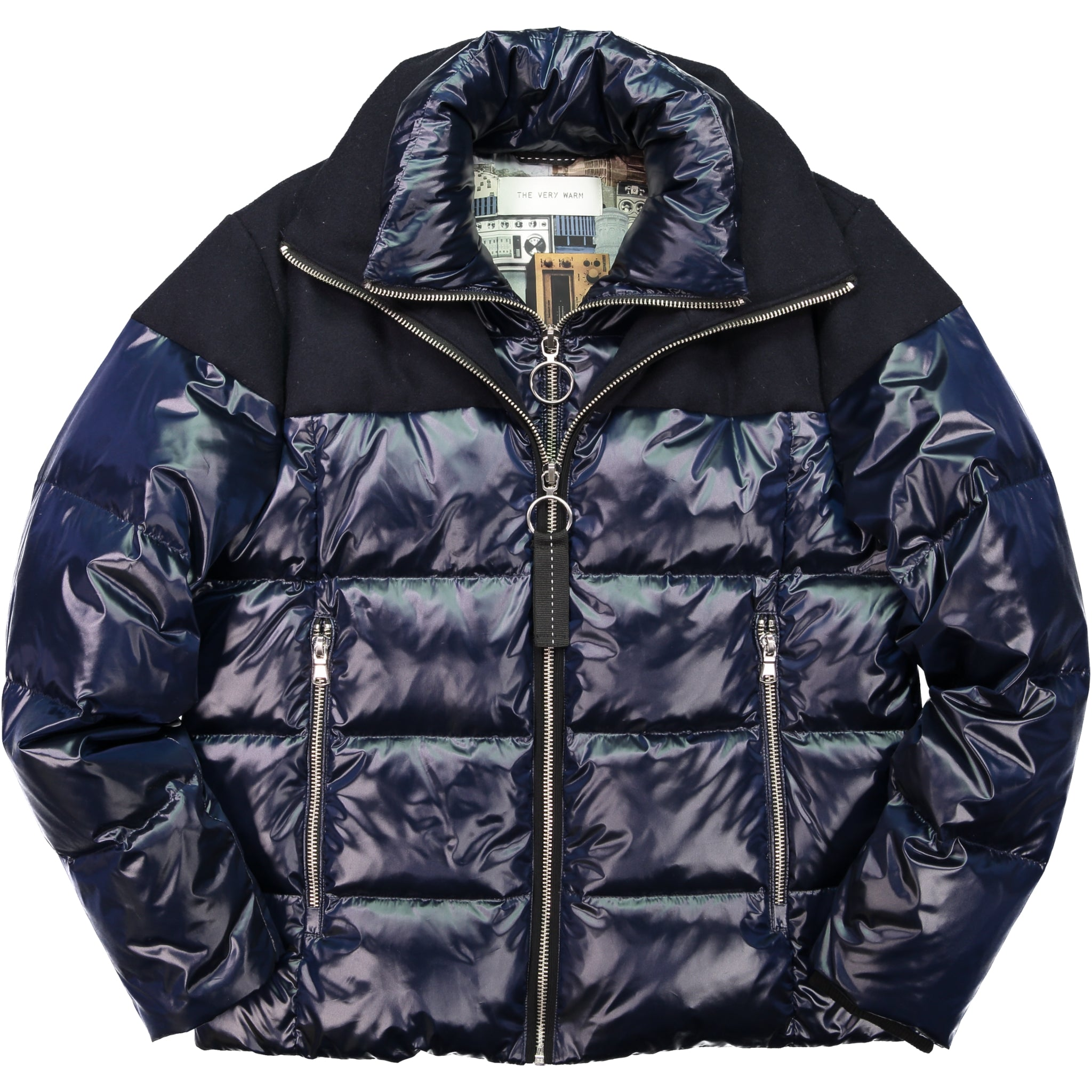 Artist Series Mens Mixed Media Wool Puffer - Midnight Mens Mixed Media Wool Puffer - Midnight
