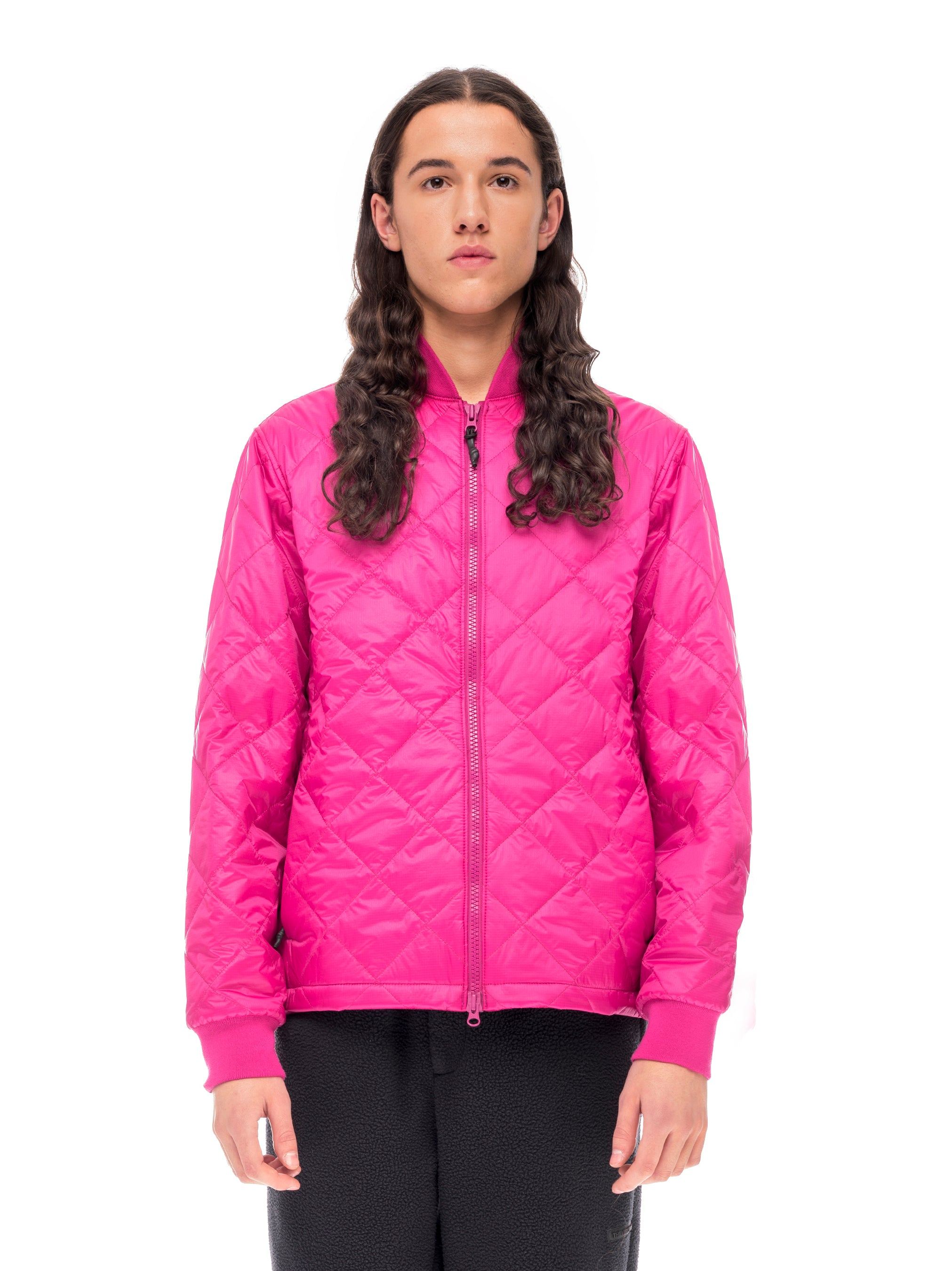 Quilted Through Light Quilted Bomber - Fuchsia [bomber_Vandal], [The Very Warm], [The Very Warm]