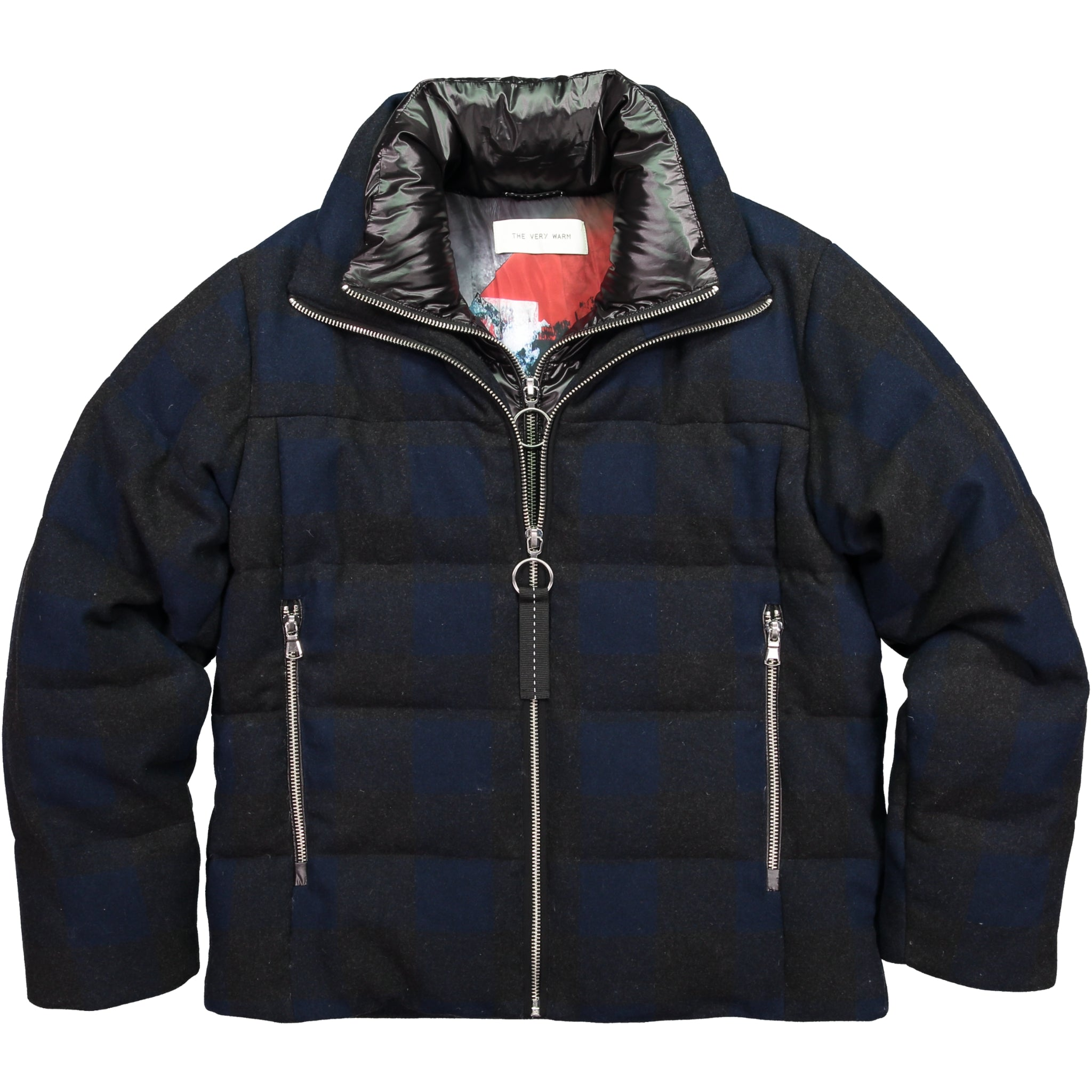 Artist Series Mens Wool Puffer - Blue Plaid Mens Wool Puffer - Blue Plaid