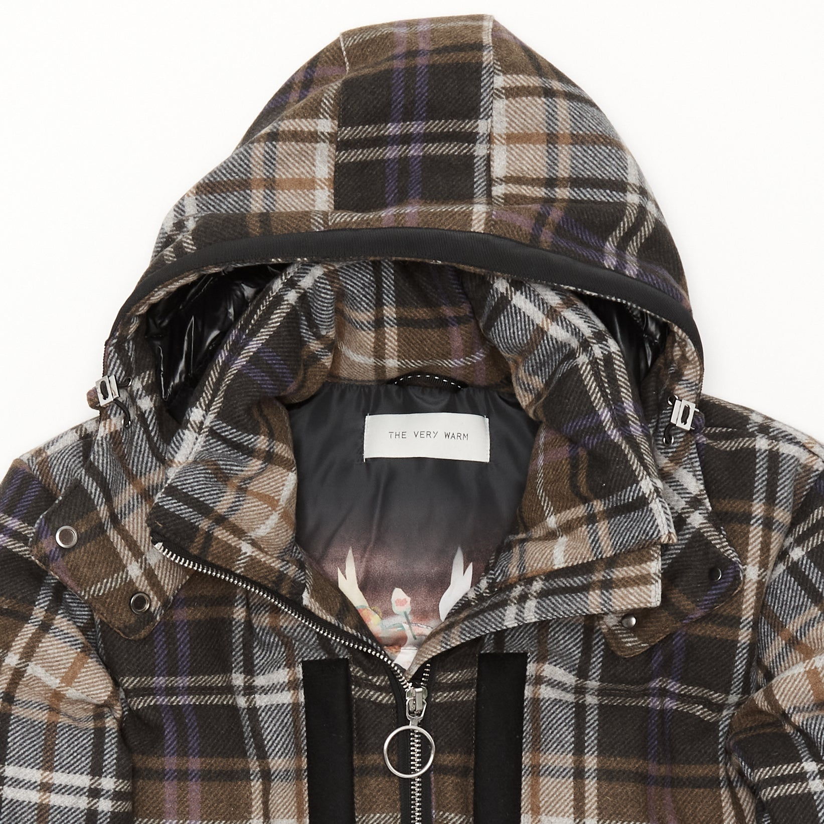 Artist Series Womens Hooded Wool Short Puffer - Windsor Plaid Womens Hooded Wool Short Puffer - Windsor Plaid