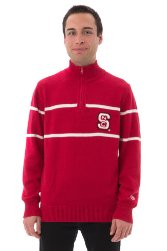 NC State Mock Ribbed Quarter Zip Sweater