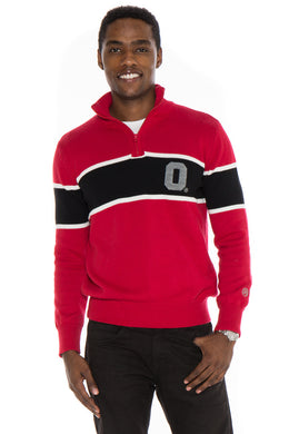 Ohio State Mock Ribbed Quarter Zip Sweater