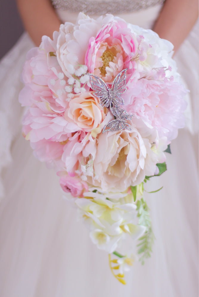Coral And Pink Rose Peony Wedding Bouquet