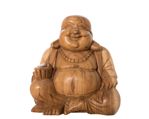 Hand-Carved Laughing Buddha - Large