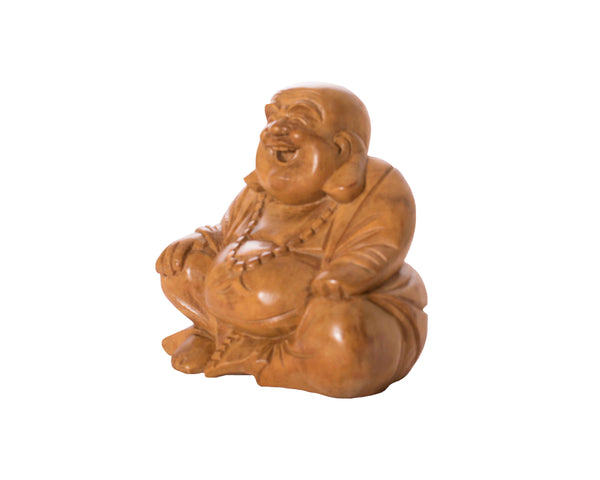 Hand-Carved Laughing Buddha - Small