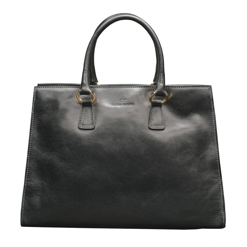 Italian leather tote black, quality