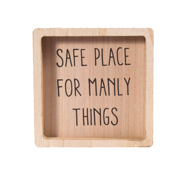 'Safe Place For Manly Things' Dad's Essentials Bits & Bobs Man Tray