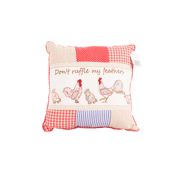 'Don't Ruffle My Feathers' Rooster Cushion