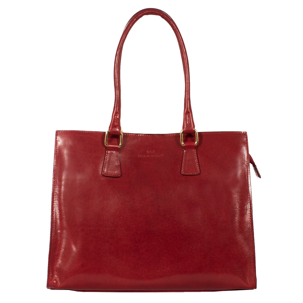 Leather tote, leather eka, italian leather, red, quality