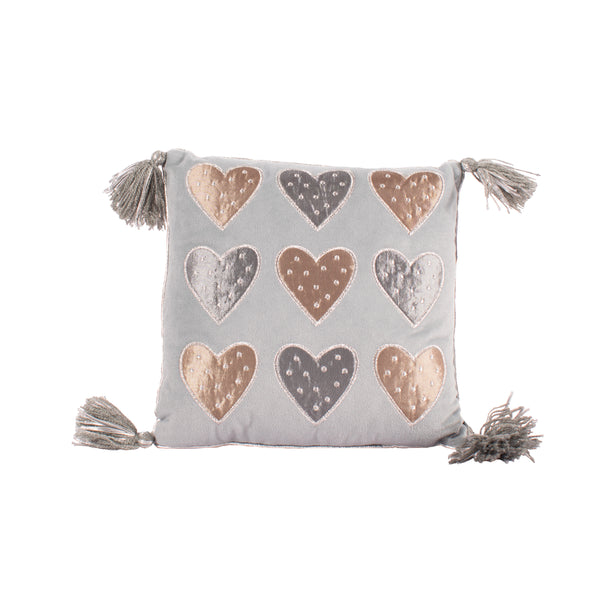 Grey Hearts Cushion