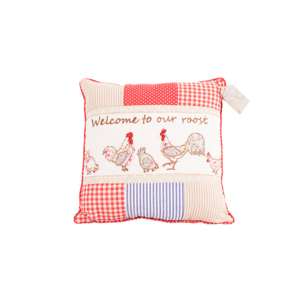 'Welcome To Our Roost' Rooster Cushion