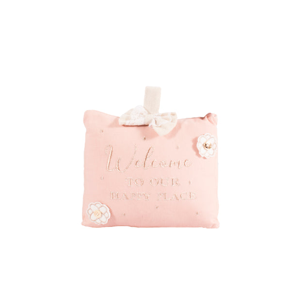 'Welcome To Our Happy Place' Rosy Glow Doorstop